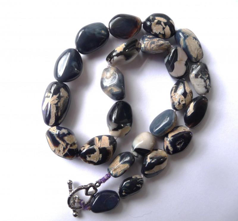 Australian Lightning Ridge Opal Freeform Bead Necklace