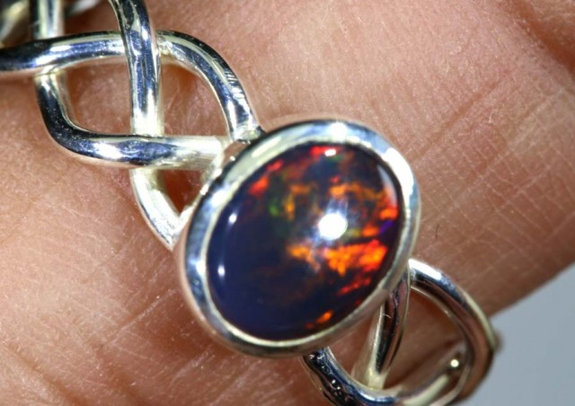 15.1 CTS BLACK OPAL SILVER RING OF-1774