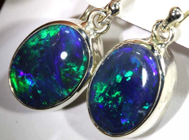 15.15 CTS BLACK OPAL SILVER EARRINGS OF-1775