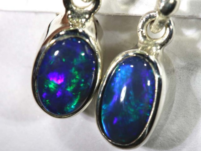 8.35 CTS BLACK OPAL SILVER EARRINGS OF-1776