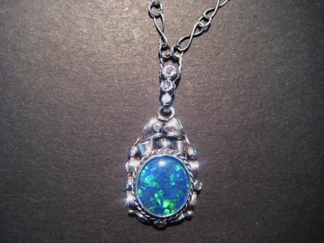Beautiful Australian Triplet Opal and Sterling Silver Pendant