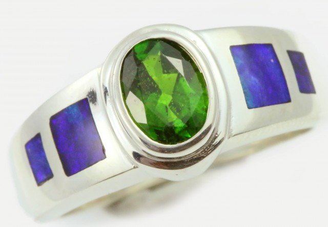 7 RING SIZE DIOPSIDE WITH NATURAL OPAL INLAY [SOJ5260]