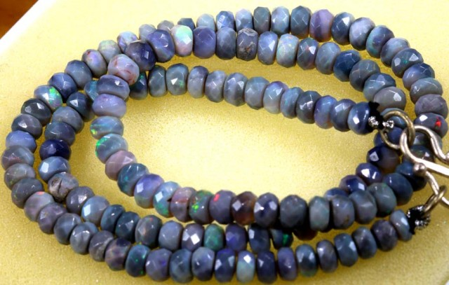 69 CTS BLACK FACETED OPAL BEADS STRAND TBO- 5786