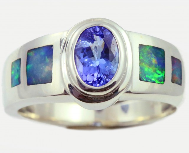7 RING SIZE TANZANITE WITH NATURAL OPAL -SILVER[SOJ5268]