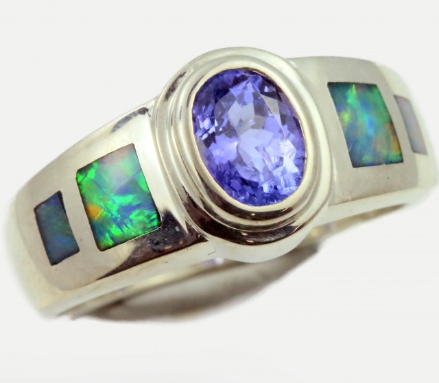 7 RING SIZE TANZANITE WITH NATURAL OPAL -SILVER[SOJ5282]