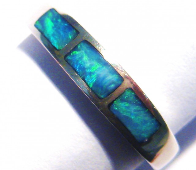 Stunning Australian Opal Inlay and Sterling Silver Ring