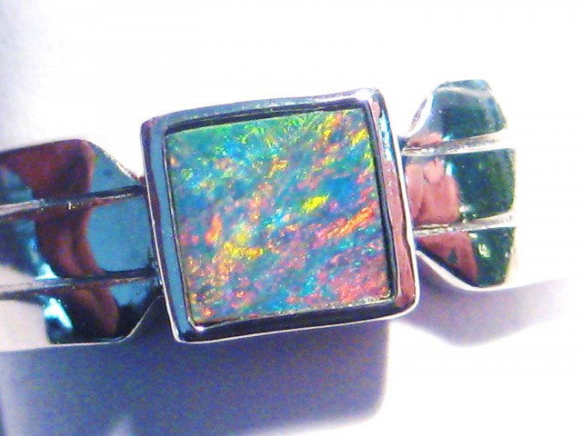 Pretty Australian Opal Doublet and Sterling Silver Ring