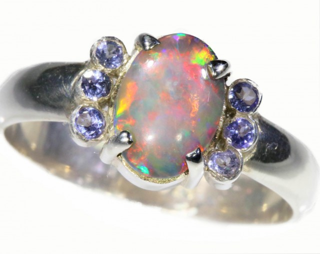 SIZE 8 SOLID FLASHY CRYSTAL OPAL WITH TANZANITE RING [SOJ5347]