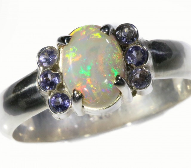 SIZE 8 SOLID CRYSTAL OPAL WITH TANZANITE [SOJ5348]