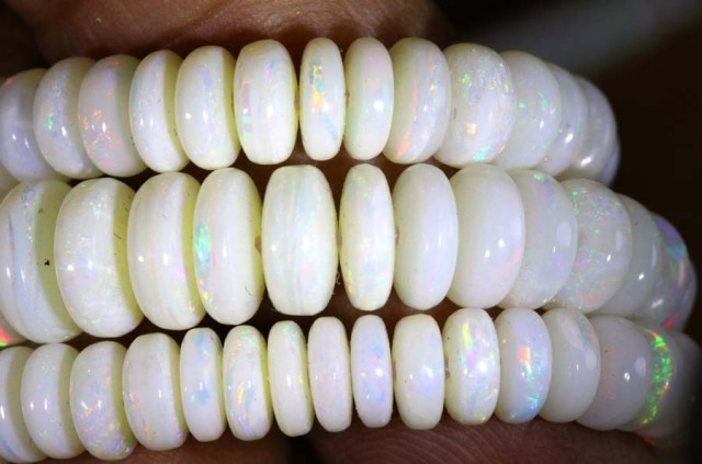 80 CTS COOBER PEDY WHITE OPAL BEADS STRANDS TBO-5836
