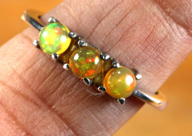 ETHIOPIAN OPAL RING STERLING SILVER  13.25 CTS    OF-1778