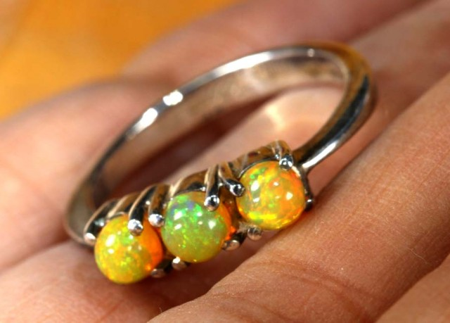 ETHIOPIAN OPAL RING STERLING SILVER 13.45 CTS    OF-1779