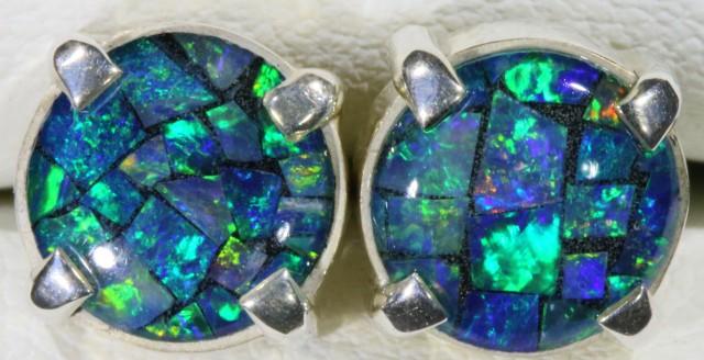 Mosaic Opal Triplet set in Silver Earrings SB 423
