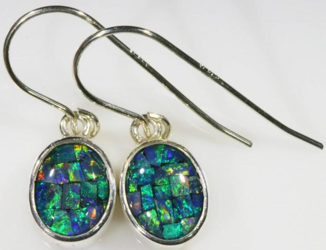 Mosaic Opal Triplet set in Silver Earrings SB 424