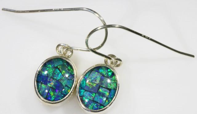 Mosaic Opal Triplet set in Silver Earrings SB 425