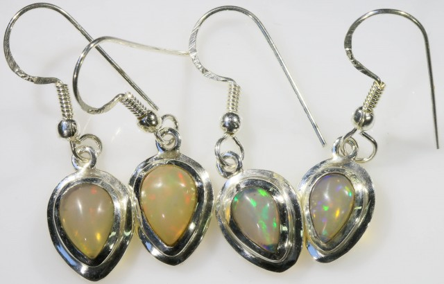 2 PAIR OF  CRYSTAL OPAL EARRING SET CF 792