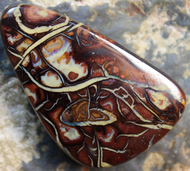 56.85 CTS YOWAH OPAL CRAZY PATTERN POLISHED STONE D1022