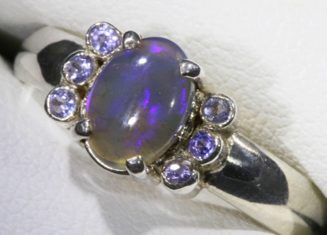 SIZE 8.5 SOLID CRYSTAL OPAL WITH TANZANITE RING  [SOJ5354]