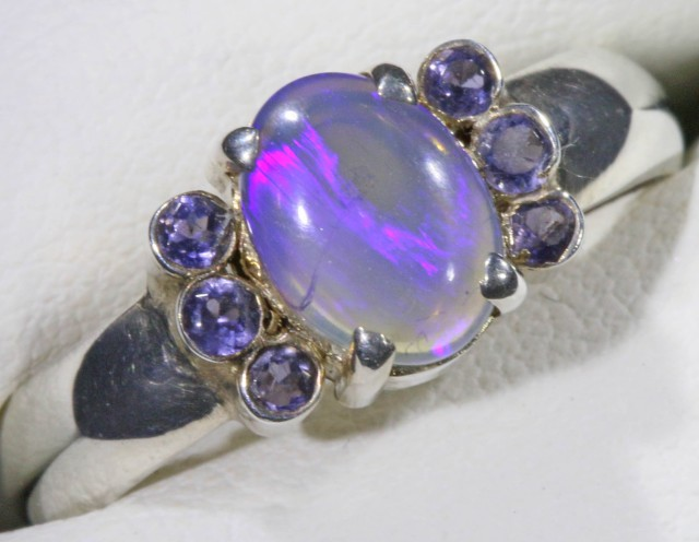 SIZE 8 SOLID CRYSTAL OPAL WITH TANZANITE  RING  [SOJ5356]