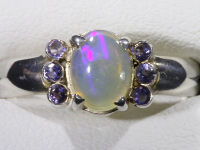 SIZE 6.5  SOLID CRYSTAL OPAL WITH TANZANITE RING  [SOJ5357]