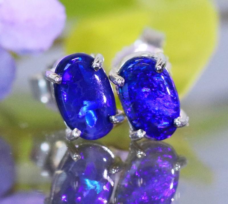 Natural solid  Black opal earrings set in silver Bu 957