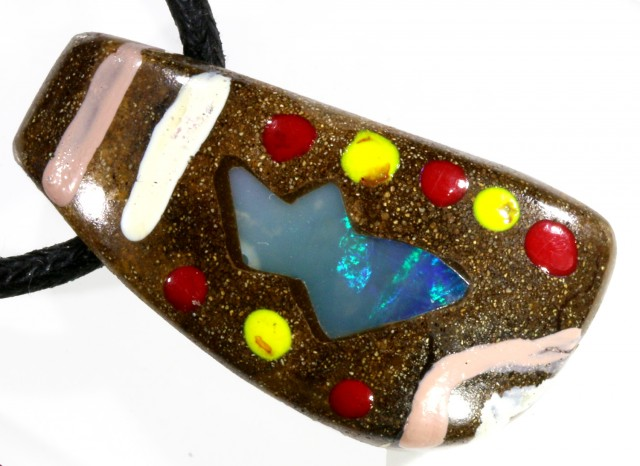 33.40 CTS UNIQUE  OPAL BOULDER OPAL PAINTED BY ABOROGINAL-[MSS 602]