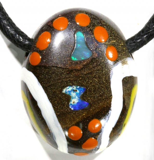 76.05 CTS UNIQUE  OPAL BOULDER OPAL PAINTED BY ABOROGINAL-[MSS 603]
