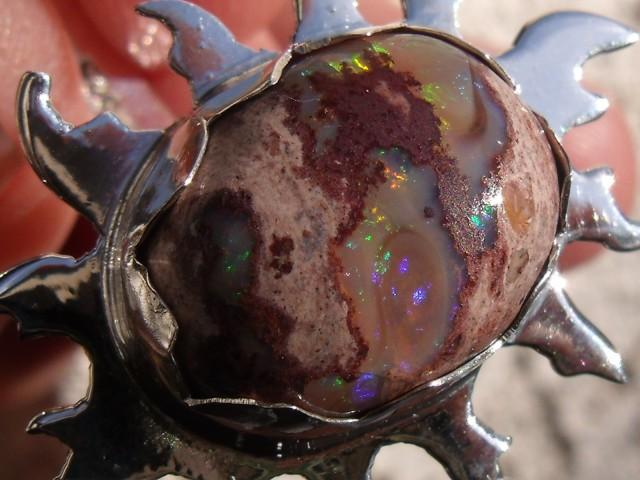 Bezel set Matrix Opal gem taxco silver ring adjustable sized 7 to 9