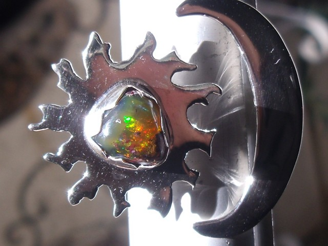 Bezel set Matrix Opal gem taxco silver ring adjustable sized 10 to 12