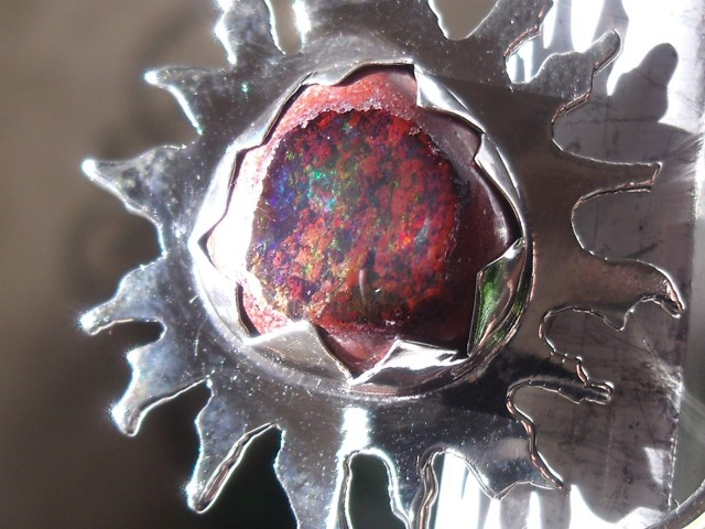Sun and Moon Mexican Matrix Opal ring
