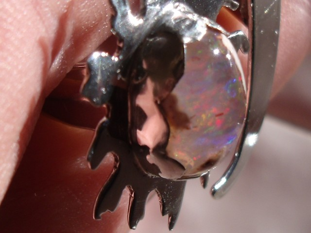Sun and Moon Mexican Matrix Opal ring