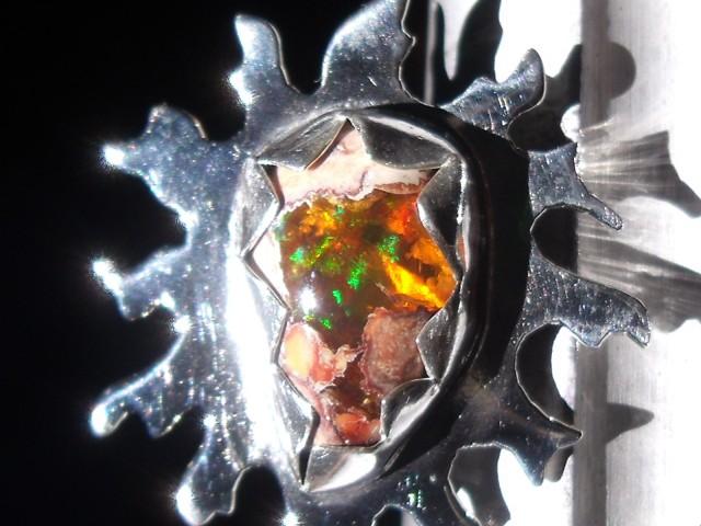 Sun and Moon Mexican Matrix Opal ring,