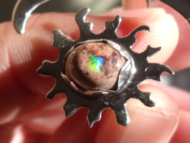 Sun and Moon Mexican Matrix Opal silver ring adjustable sized 7 to 9