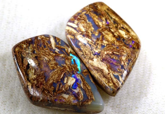 20.45 CTS BOULDER WOOD FOSSIL OPAL STONES (pair)  NC-4689