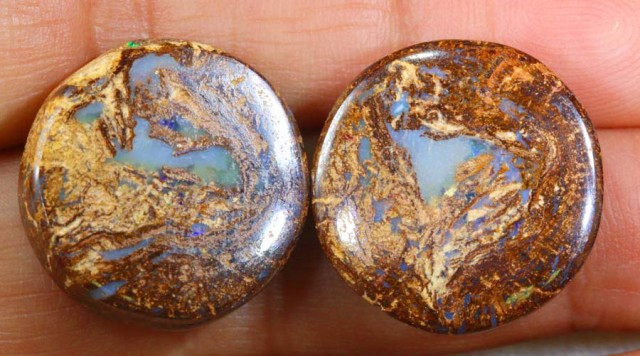 42.40 CTS BOULDER WOOD FOSSIL OPAL STONES (pair)  NC-4694