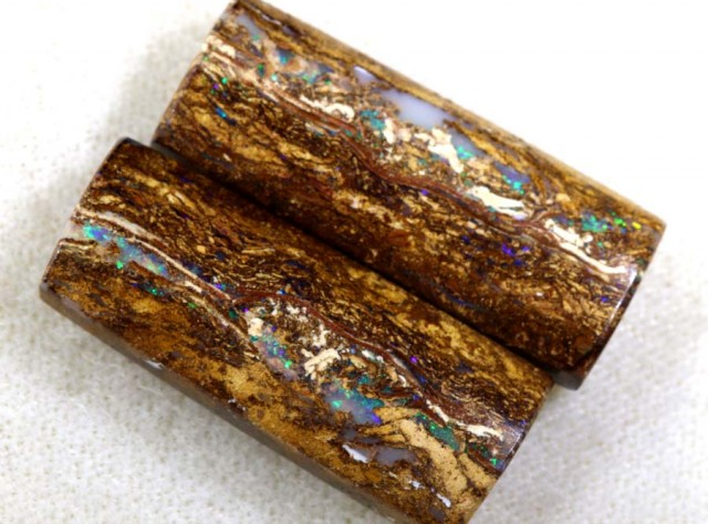 28.25 CTS BOULDER WOOD FOSSIL OPAL STONES (pair)  NC-4695