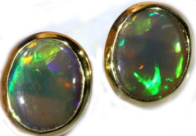 Black Opal Earrings Set in 9k Yellow Gold Earring SB520