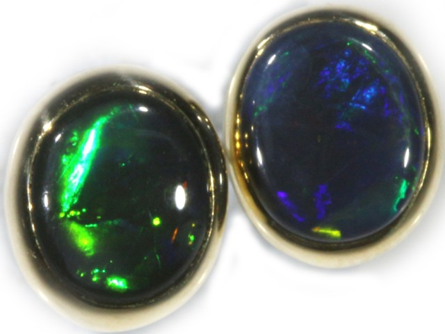 Black Opal Earrings Set in 9k Yellow Gold Earring SB521