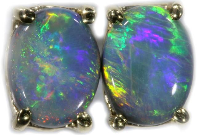 Black Opal Earrings Set in 9k Yellow Gold Earring SB525