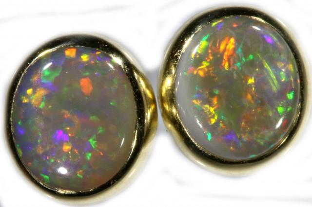 Crystal Opal Earrings Set in 9k Yellow Gold Earring SB526