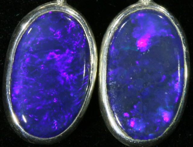 2.00CTS Black opal earrings set in  silver  SB536