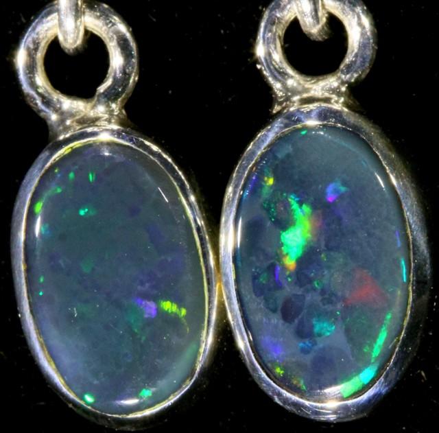 1.14 CTS Black opal earrings set in  silver  SB 537