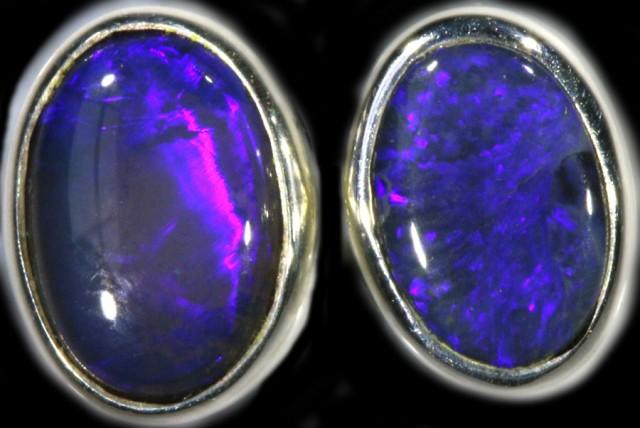 1.30 CTS Black opal earrings set in  silver  SB 541