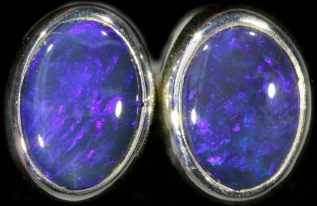 1.30 CTS Black opal earrings set in  silver  SB 543