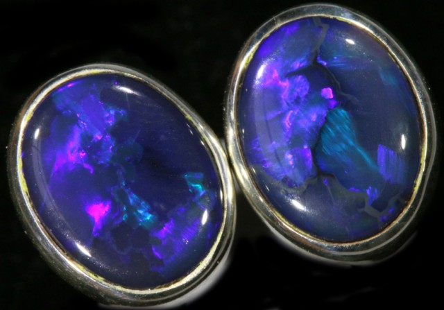 2.20 CTS Black opal earrings set in  silver  SB 544