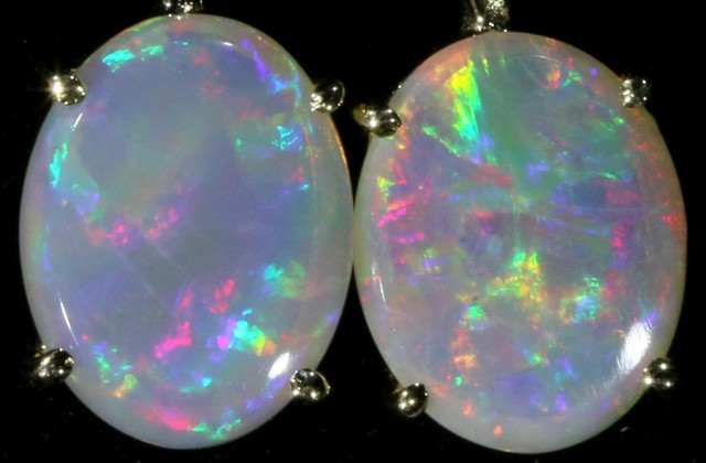 7.65 CTS 9K GOLD OPAL EARRINGS FROM LIGHTNING RIDGE [SOJ5632]