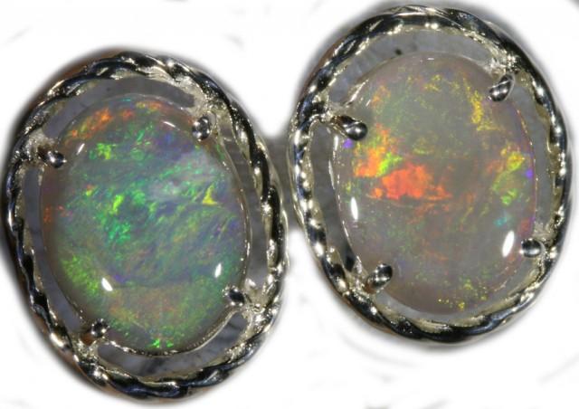 7.95 CTS SOLID OPAL EARRINGS -SILVER [SOJ5634]