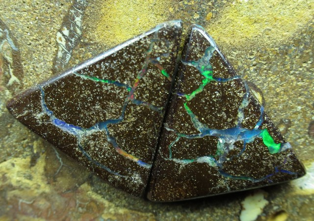 "19cts.""BOULDER OPAL PAIR~WHOLESALE"""