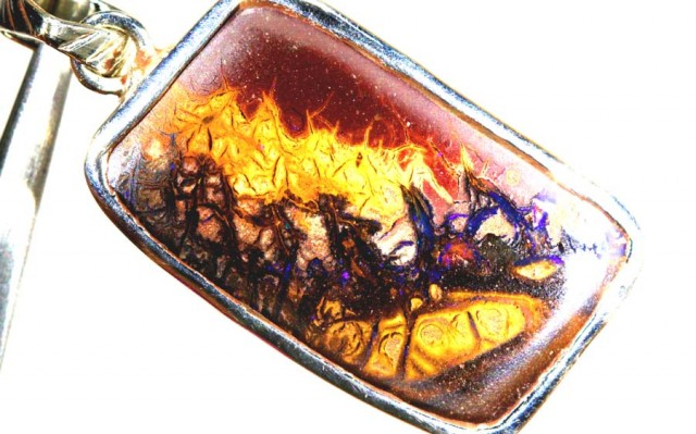 362 CTS BOULDER OPAL STERLING SILVER PENDANT OF-1853