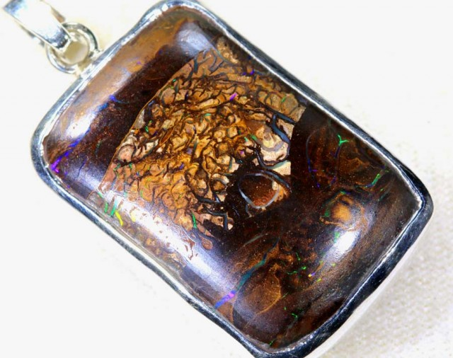 71 CTS BOULDER OPAL STERLING SILVER PENDANT OF-1917